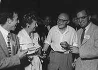 Mottelson, Mayer, Jensen, and Aage Bohr at a 1957 conference in Rehovot.